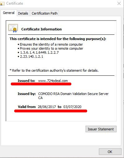 Google Chrome SSL Cert